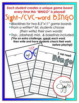 Fill-in Sight-word and CVC Bingo game kindergarten and first