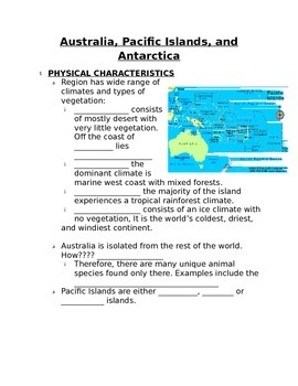 Fill in the Blank Notes for Australia, Antarctica, and Pac