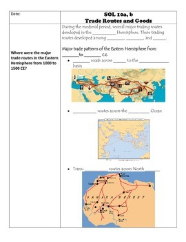 Fill-in-the-Blank Notes for VA SOL WHI.10 Trade Routes, Af