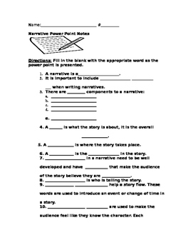 Fill in the Blank Ppt Notes for Narratives