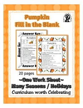 Fill in the Blank ~ Pumpkins ~ One Work Sheet ~ Many Seaso