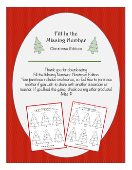 Fill in the Missing Number Pattern
