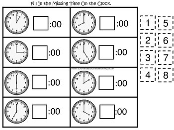 Fill in the Time (Hour) preschool educational game.  Learn