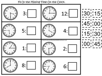 Fill in the Time (Minutes) preschool educational game.  Le