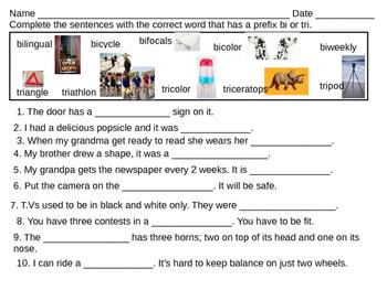Fill in the blanks prefix bi tri