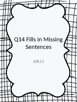 Fill in the missing word ABLLS Q 14 with pictures