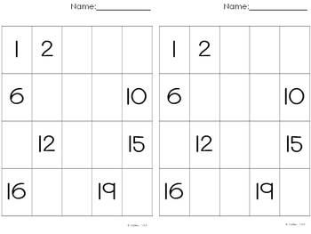 Fill in the number 1-20 Kindergarten