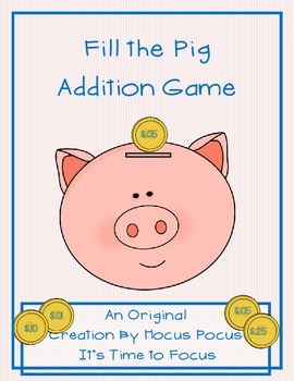 Fill the Pig Addition Game 1-10 Original Product K, 1st, 2