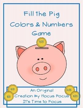 Fill the Pig Colors & Numbers Game Kindergarten, 1st CC Al