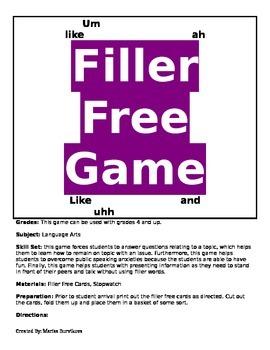 Public Speaking- Avoiding Filler Words Game