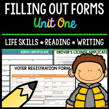 Filling Out Forms - Life Skills - Reading - Writing - Spec