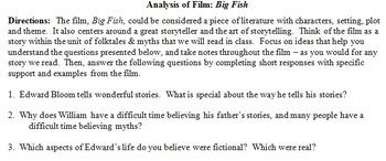 Film Analysis: Tim Burton's Big Fish