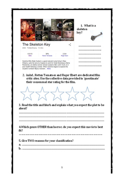 Film Movie Study Guide Halloween The Skeleton Key and Goth