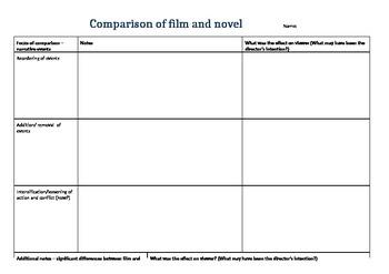 Film and novel comparison template (scaffold)