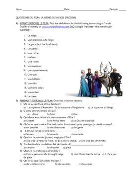 Film questions for Frozen / La Reine des Neiges (French 1)