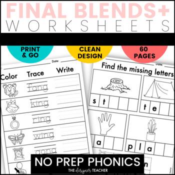 NO PREP Print & Go Final Blends+ Word Work BUNDLE