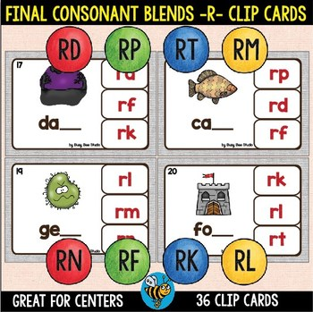 ESL Phonics: Final Consonant Blends -R- Clip Cards