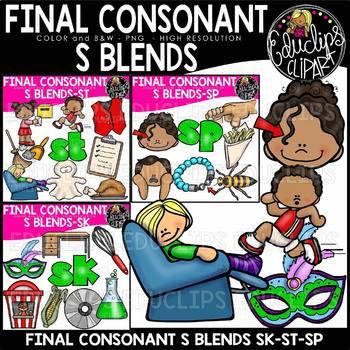 Final Consonant Blends S- Clip Art Bundle {Educlips Clipart}