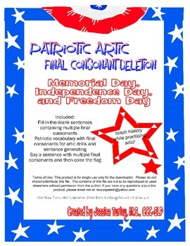 Final Consonant Deletion Activities for Memorial Day, 4th