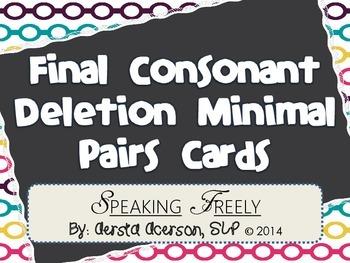 Final Consonant Deletion Minimal Pairs Cards