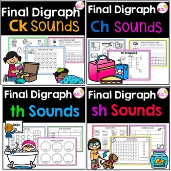 Final Digraph Ch, Ck, Sh and Th Sounds Bundle