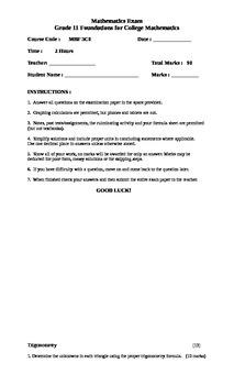 Final Exam: Grade 11 College Mathematics - MBF 3C0