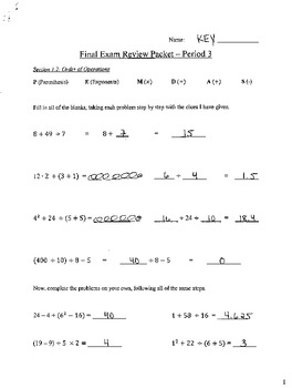 Final Exam Review Packet - 7th Grade Honors - Answer Key