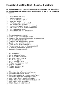 Final Speaking questions French I