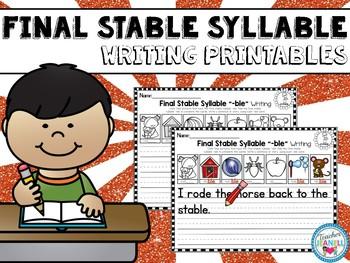 Final Stable Syllable Writing Printable