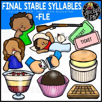 Final Stable Syllables -FLE {Educlips Clipart}