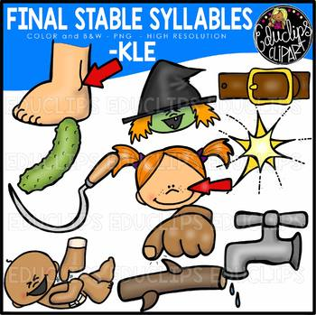 Final Stable Syllables -KLE {Educlips Clipart}