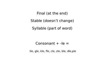 Final Stable Syllables - Reading and Writing