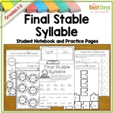 Final Stable Syllables:  Student Notebook Page and Practice Pages