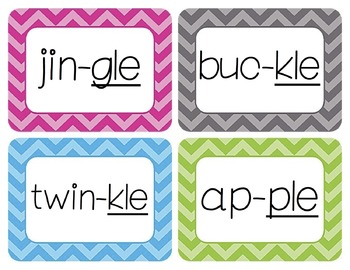 Final Stable Syllables Word Wall Cards