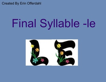 Final Syllable -le