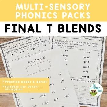 Final T Blends Phonics Practice Multisensory Orton-Gillingham