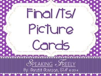 Final /TS/ Word Articulation Picture Cards