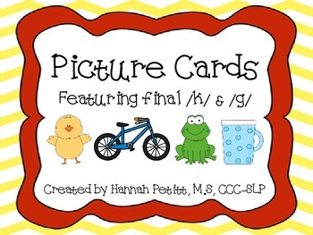Final /k/ & /g/ Picture Cards