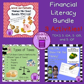 Financial Literacy 5th grade BUNDLE! 3 Activities! TEKS 5.