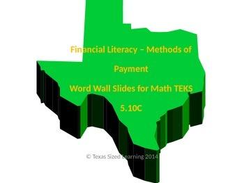Financial Literacy Math TEKS 5.10C Methods of Payment Voca