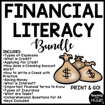 Financial Literacy Reading Comprehension Worksheets, Cente