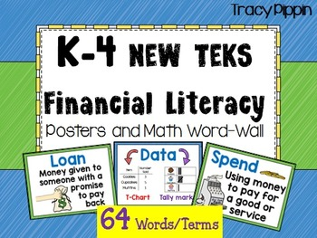 Financial Literacy TEKS Word Wall K, 1st, 2nd, 3rd, 4th grade