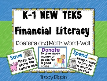 Financial Literacy Vocabulary K-1 NEW TEKS