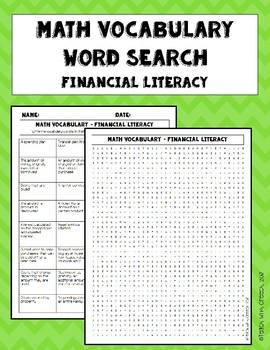 Financial Literacy Vocabulary Word Search