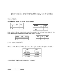 Financial Literacy and Conversions Study Guide