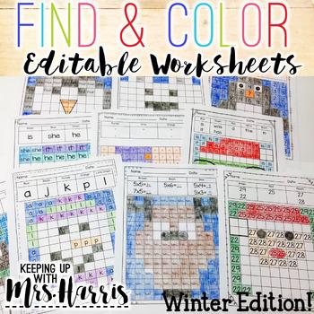 Find & Color Activities - Editable Winter Worksheets