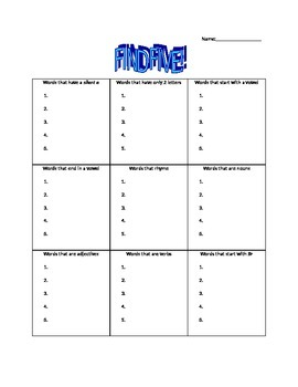 Find Five! Vowels, Nouns, Adjectives, Verbs, Initial Sound