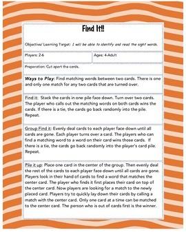 Find It! Sight Words--1st Grade Set 1 ** Word Work **