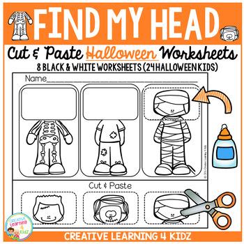 Find My Head Cut & Paste Worksheets: Halloween