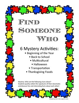 Find Someone Who - Ice Breaker Activities for Fall
